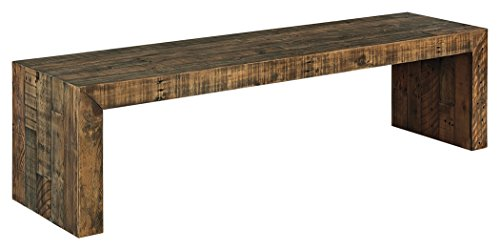"Ashley Furniture Signature Design - Sommerford 65"" Dining Room Bench - Rustic Style - Brown"