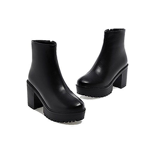 AmoonyFashion Womens Low Top Solid Zipper Round Closed Toe High Heels Boots Black 5PLND8J