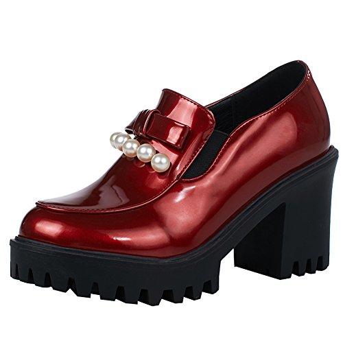 Latasa Femmes Perlé Bloc Haut Talon Slip Sur Les Mocassins Chaussures Rouge