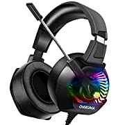 #LightningDeal ONIKUMA PS4 Headset Xbox One Headset with Mic, Gaming Headset for PS4, Xbox One, PC, Over Ear Noise-Canceling Gaming Headphones with 7.1 Surround Sound& RGB LED Light for Mac, Laptop, Nintendo Switch
