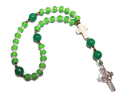 Anglican Rosary, Green Native American Heart Beads, Celtic Cross