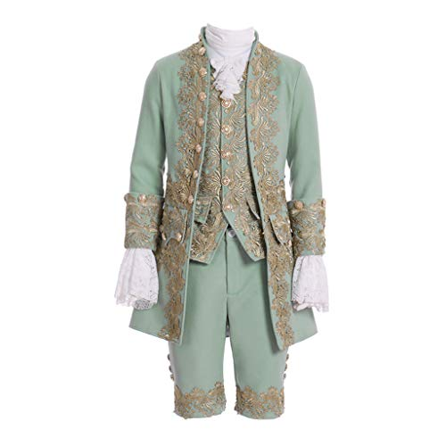 COUCOU Age Victorian Costume Men Rococo Costume Suit Jacket Vest Prince Cosplay Halloween Green -