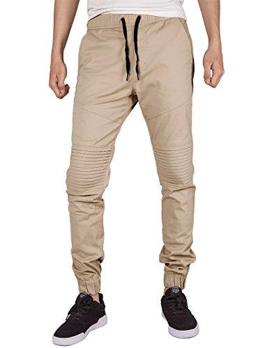 ITALY MORN Men Chino Jogger Casual Pants Biker Jogging Twill Khakis Slim Fit (M, Cream Khaki) Khaki Cream