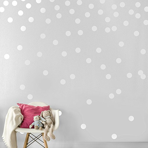 White Wall Decal Dots (200 Decals) | Easy Peel & Stick + Safe on Walls Paint | Removable Matte Vinyl Polka Dot Decor | Round Circle Art Glitter Sayings Sticker Large Paper Sheet Set for Nursery Room (Best Paint For Nursery Walls)