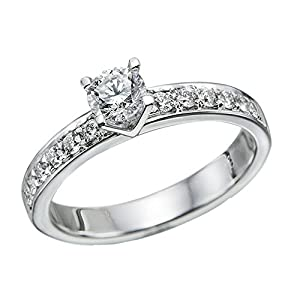 IGI Certified 14k white-gold Round Cut Diamond Engagement Ring (0.81 cttw, F Color, SI1 Clarity) - size 8