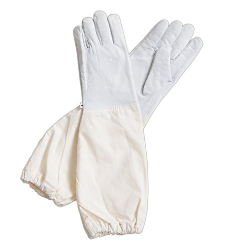 Forest Beekeeping Supply - Goatskin Leather Beekeepers Glove with Long Canvas Sleeve & Elastic Cuff(X-Large)