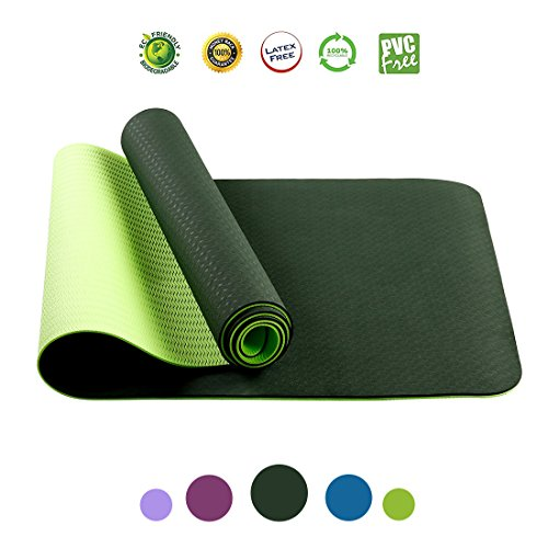 FARLAND Yoga Mat-Non Slip Yoga Mat with Carrying Strap Lightweight 1/4 Workout Mat ExtraThick Long Exercise Mat,Anti-Tear Hot Pilates Fitness Yoga Mat in Home & Gym