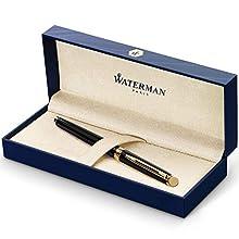 Waterman Hémisphère pluma estilográfica, con adorno de oro de 23 quilates, plumín mediano con cartucho de tinta azul, estuche de regalo, color negro brillante