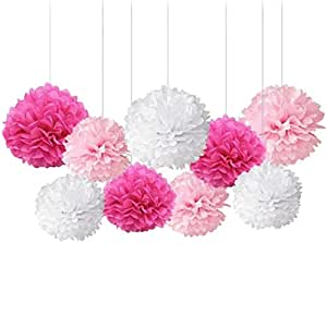 FunPa 9PCS Tissue Paper Pom Hanging Paper Pom Poms Quality Party Pompoms for Wedding Party Outdoor Decoration