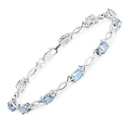 6.50 Carat Genuine Blue Topaz .925 Sterling Silver Bracelet