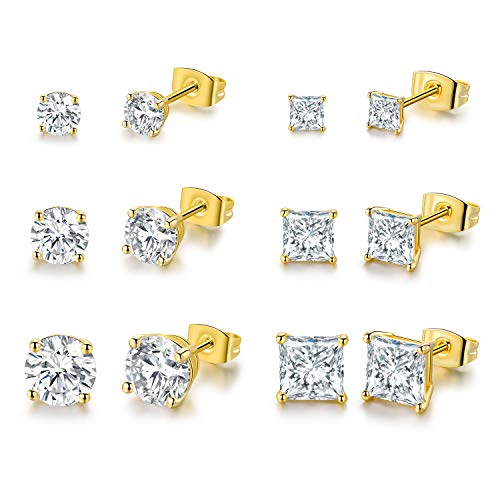 DwearBeauty Yellow Gold Plated Cubic Zirconia Stud Earrings 6-Pairs Pack …