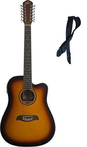 Oscar Schmidt 12 String Acoustic/Electric Guitar, Free Strap, Sunburst OD312CETS