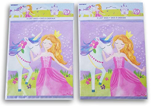 Unicorn Princess Themed Party Favor Loot Bags -
