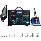 VIVOHOME 2 in 1 862D+ SMD Soldering Iron Station Rework Station Hot Air Heat Gun with 4 Nozzles 110V