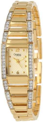 Caravelle by Bulova Women's 45L95 Swarovski Crystal Accented Champagne Dial Watch