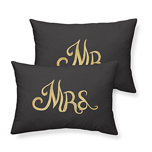 Junhome Black Pack of 2 Couple Pillowcases for Men and Women Mr Mrs Printed Pillow Cover Precious Gift Sweetheart Gift Standard Pillowcases