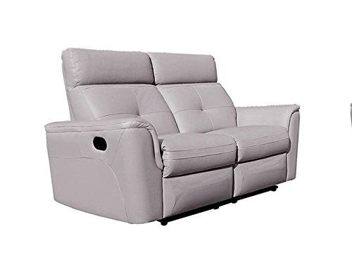 Italian Design Leather Sofa Loveseat - ESF 8501 Recliner Loveseat Chic Light Grey Italian Leather Modern