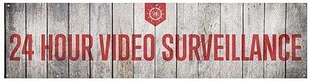 Nautical Wood Wind-Resistant Outdoor Mesh Vinyl Banner 12x3 CGSignLab 24 Hour Video Surveillance