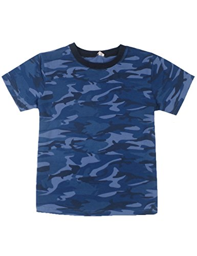 Spring&Gege Boys Summer Cotton Short Sleeve Camouflage T-Shirt Size 3-4 Years Camo/Navy Blue