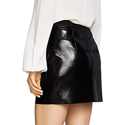 1.STATE Crackled Faux Patent Leather Skirt Gray Size 2 at Amazon Women's Clothing store