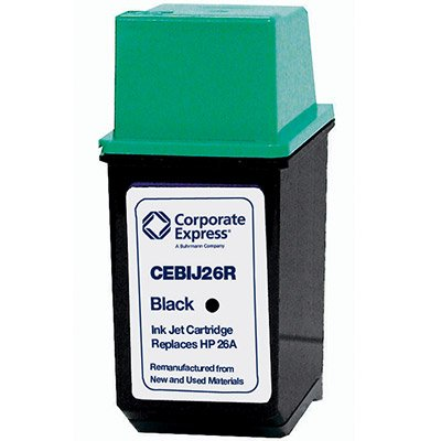 Inkjet Print Cartridge, Remanufactured, HP DeskJet 560C, 550C, 540C, Black CEBIJ26R