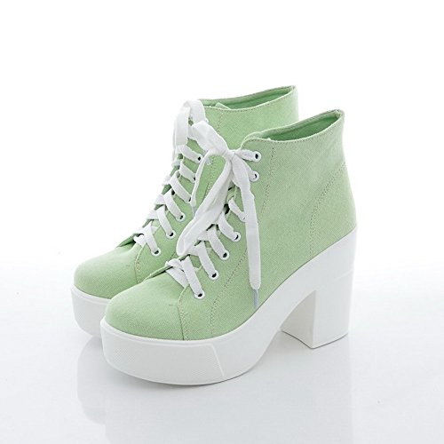 Lightgreen B US Platform Womens AmoonyFashion 7 Heels Toe Closed M Synthetic with Boots Round High Solid Rubber 67x6aSBq