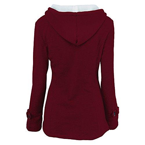 Largas Invierno Parka Botones Con Capucha Rojo Abrigo Casual Mujer Mangas Jacket Pullover Chaqueta Sudadera Bozevon x5qzIC7
