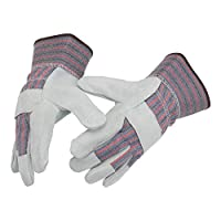 """Leather Work Gloves 10.5"""" Size L Split Leather Design Heavy Duty Industrial Safety Gloves Fits Both Men & Women All-Season Perfect for Mechanics, Welding, Gardening, Driving, and More"""