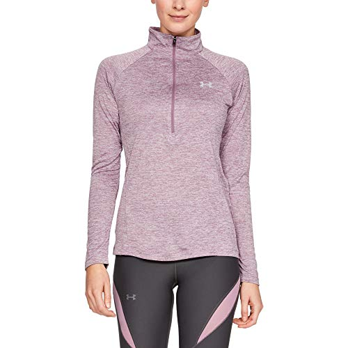 Under Armour Womens Tech Twist ½ Zip Long Sleeve Pullover, Purple Prime (521)/Metallic Silver, X-Small -  Under Armour Apparel, 1320128-521-XS