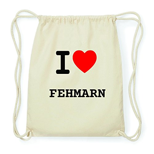 JOllify FEHMARN Hipster Turnbeutel Tasche Rucksack aus Baumwolle - Farbe: natur Design: I love- Ich liebe JeDNE5Uhrp