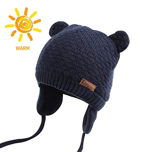 BAVST Baby Beanie Hat for Winter with Earfalp Cute Bear Kids Toddler Girls Boys Warm Knit Cap for 0-2Years (Navy 2, L(10-24M)) -
