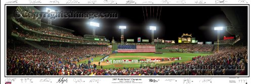 Boston Red Sox 2007 Printed - Boston Red Sox 2007 World Series Opening Ceremonies Unframed Panoramic Photo with Team Signatures
