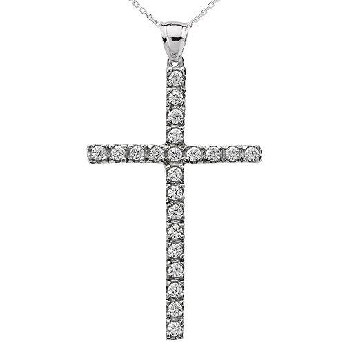 Collier Femme Pendentif 10 Ct Or Blanc Oxyde De Zirconium Croix (Livré avec une 45cm Chaîne)