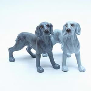 Weimaraner Dog Ceramic Figurine Salt Pepper Shaker 00002 Ceramic Handmade Dog Lover Gift Collectible Home Decor Art and Crafts