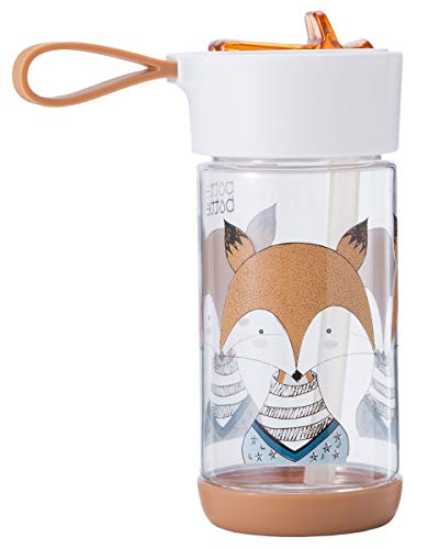 bottlebottle 11.5oz Tritan Leak Proof Kids Water Bottle with Flip Straw and Handle, BPA Free, Brown with Fox ()