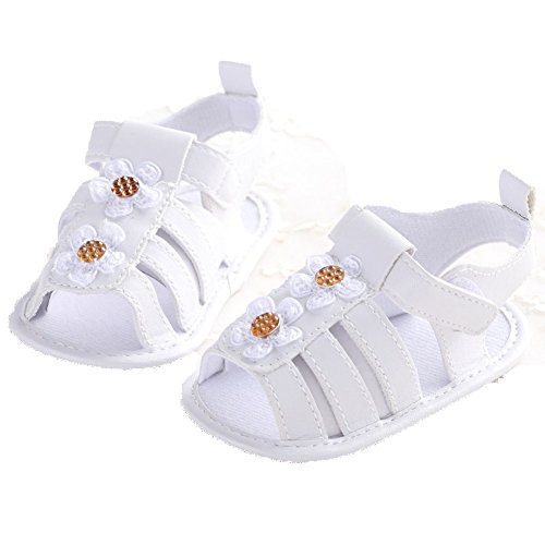 etrack-online bebé Infant Toddler verano princesa sandalias zapatos de suela blanda blanco blanco Talla:12-18months blanco