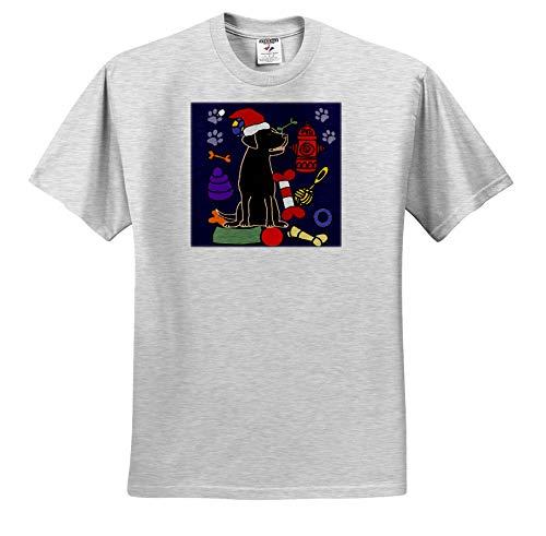 3dRose All Smiles Art - Pets - Funny Cute Black Lab Puppy Dog and Dog Toys Christmas Cartoon - Adult Birch-Gray-T-Shirt 3XL (ts_322591_23)