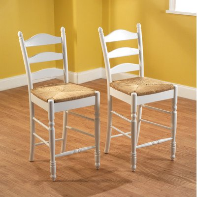 Target Marketing Systems 24-Inch Set of 2 Ladder Back Stools with Rush Seats and Turned Legs, Set of 2, White by Target Marketing Systems