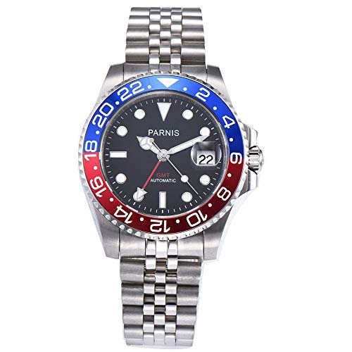 40mm PARNIS Black dial Pepsi Bezel Sapphire Glass Date GMT Automatic Mens Watch (Watch Date Gmt)