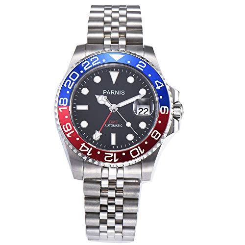 Automatic Gmt Men Watch - 40mm PARNIS Black dial Pepsi Bezel Sapphire Glass Date GMT Automatic Mens Watch