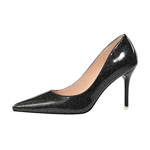 noir 36 EU FLYRCX Européens Sexy Pointus Bouche Peu Profonde en Cuir Talons Hauts Les Les dames Chaussures Simples Stiletto Chaussures de soirée de tempéraHommest