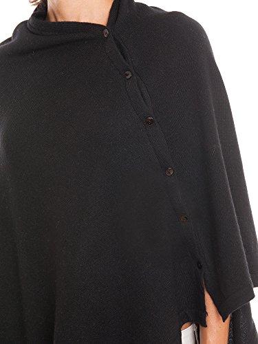 Dalle Piane Cashmere - Poncho con botones de mezcla de cachemira para mujer negro