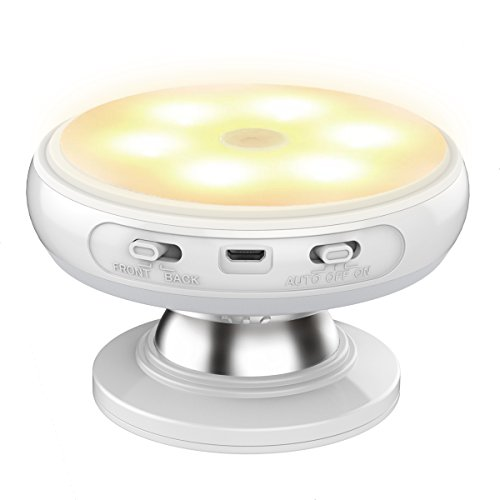 Nycoo Motion Sensor Wireless Indoor Light Rotating Rechargeable LED Night Light Security Wall lamp for Home Bedroom Stair Kitchen Safe Cold Warm LED Lights for Patio Hallway DJ002-WARM