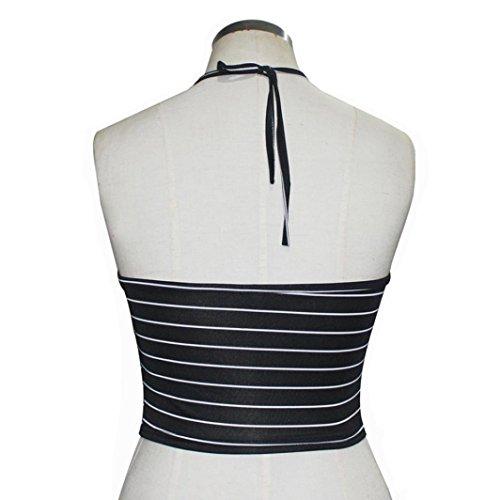 vest donna ALISIAM Donne Stampa a righe allacciatura al collo Carro armato crop Tops Maglietta Camicetta T-Shirt