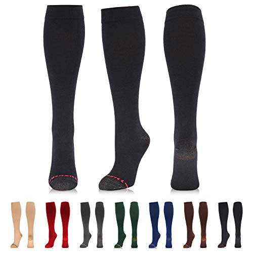 NEWZILL Compression Dress Sock (15-20mmHg) for Men & Women - Cotton Rich Comfortable Socks - Best Stockings for Business Casual, Running, Medical, Athletic, Edema, Diabetic (S/M, Black)