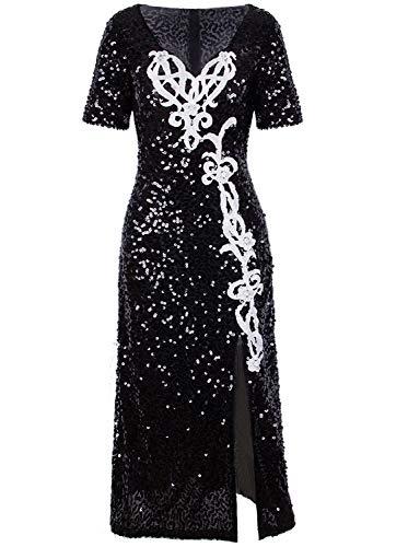 Vijiv Womens 1920s Slit Flapper Dresses Plus Size