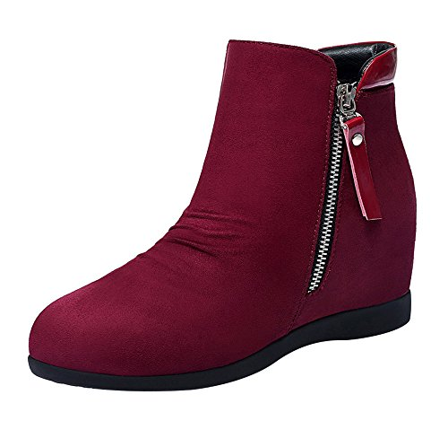 T&Mates Women's Beginning Autumn Side-Zipper High Increase within Microfiber Ankle Booties (8 B(M)US,Red)