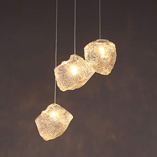 ZQH Modern Simplicity Ice Cube Pendant Light, Creative Glass Chandelier Nordic Ceiling Pendant Lamp E27 Living Room Restaurant Cafe Decoration Hanging Light,3heads