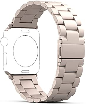 Apple Watch Band, PUGO TOP 42mm Stainless Steel Metal Replacement Classic Band for Apple Watch Series 2 Series 1 42mm, Gold