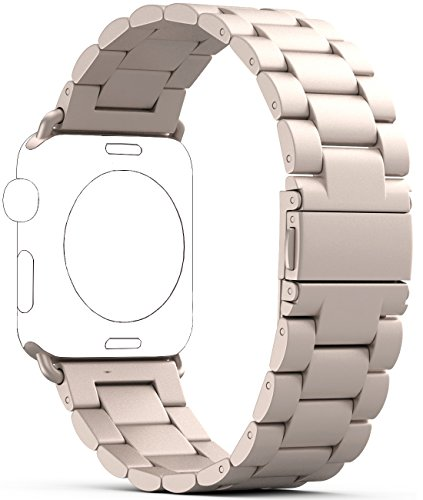 PUGO TOP Replacement for Iwatch Band 42mm 44mm, Stainless Steel Metal Replacement Classic Band for Apple Watch Series 4/3/2/1(42mm/44mm, Champagne Gold)
